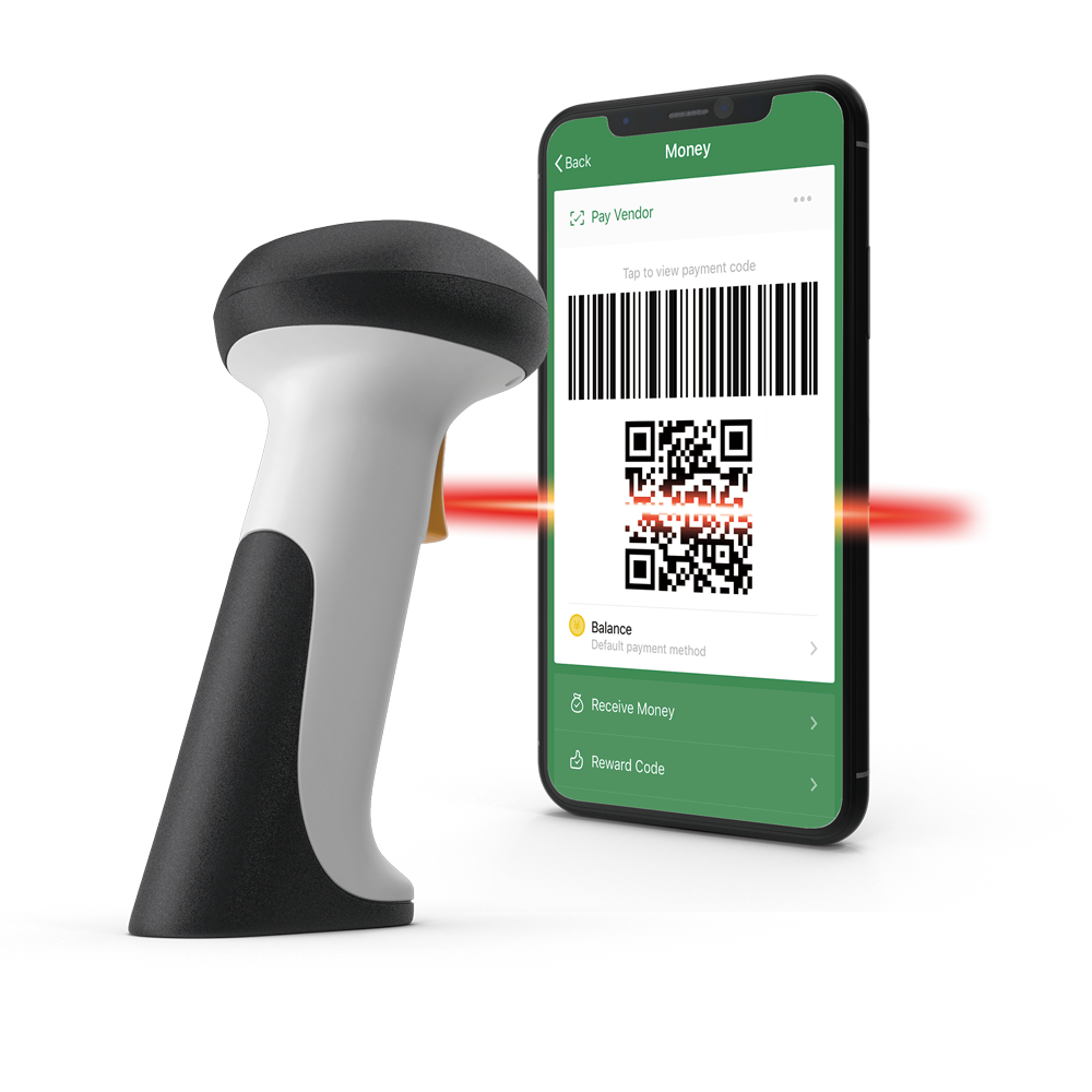 a mobile phone with qr-code scanned by a barcode scanner