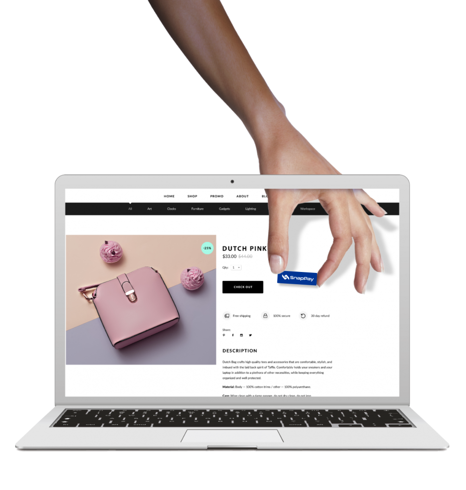 a creative image shows a hand putting a payment button into a website page